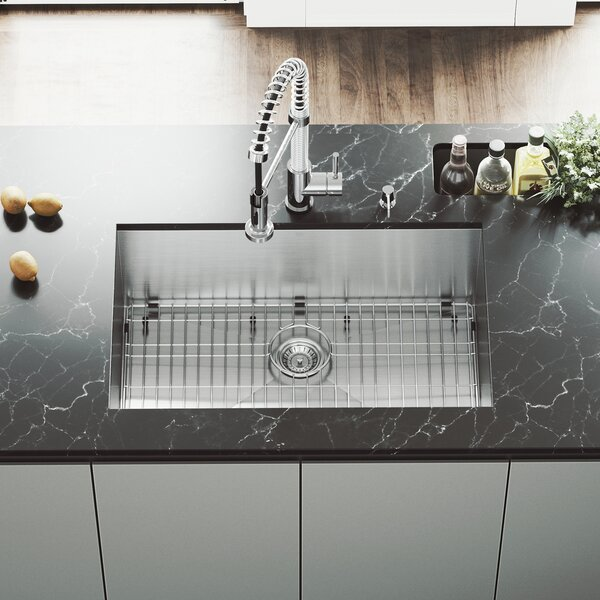 30 L x 19 W Undermount Kitchen Sink with Faucet, Grid, Strainer and Soap Dispenser by VIGO