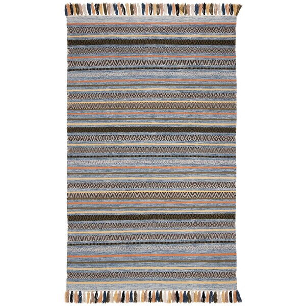 Trenton Hand-Woven Cotton Blue Area Rug by Bungalow Rose