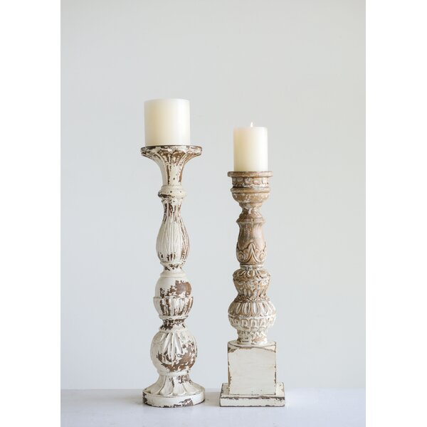 Mango Wood Candlestick in 22 H x 5.5 W by Ophelia & Co.