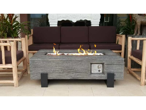 Torch GRC Wood Textured Concrete Propane Fire Pit by Teva Furniture