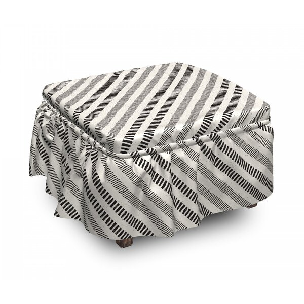 Diagonal Line Composition Ottoman Slipcover (Set Of 2) By East Urban Home