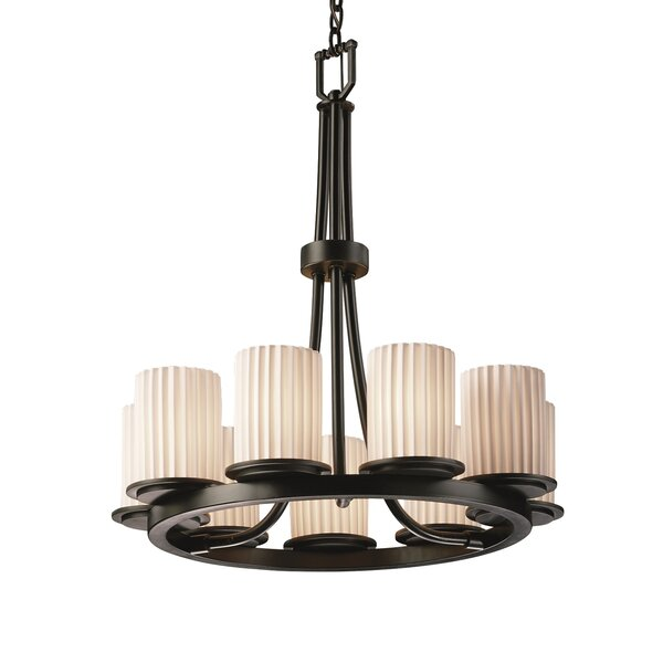 Luby 9 - Light Shaded Wagon Wheel Chandelier by World Menagerie World Menagerie