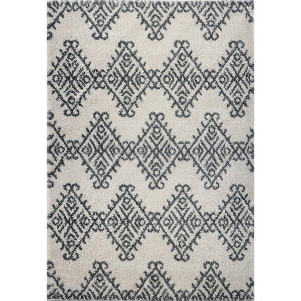Mckinnie Shaggy Ivory/Gray Area Rug by Ebern Designs