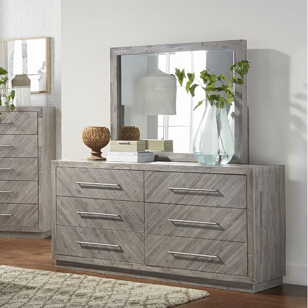Vickery 6 Drawer Double Dresser with Mirror by Foundry Select