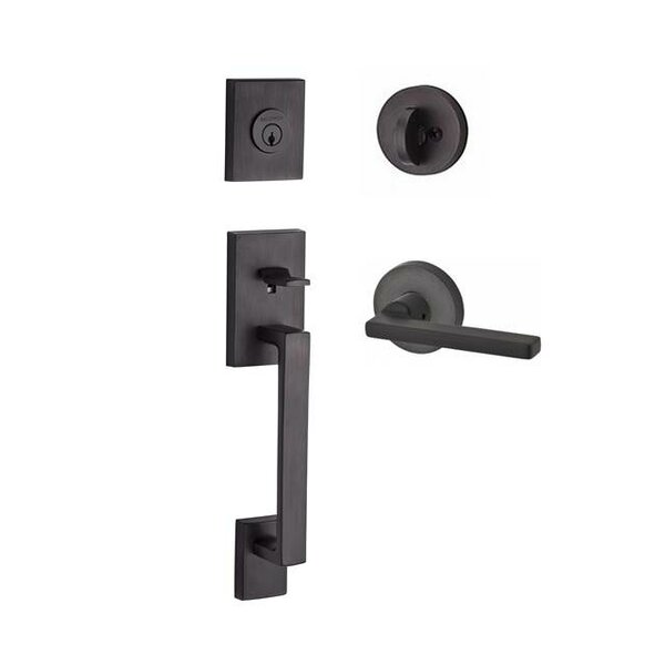 La Jolla Single Cylinder Handleset with Square Door Lever Contemporary Round Rose by Baldwin