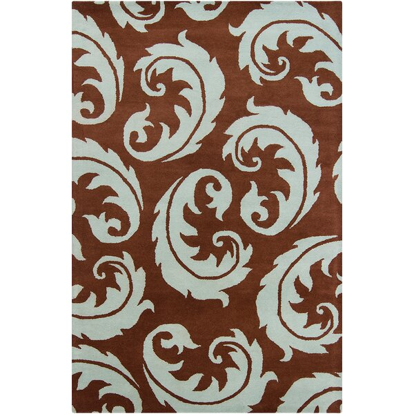 Borset Hand Tufted Wool Dark Brown/Light Blue Area Rug by Mercer41
