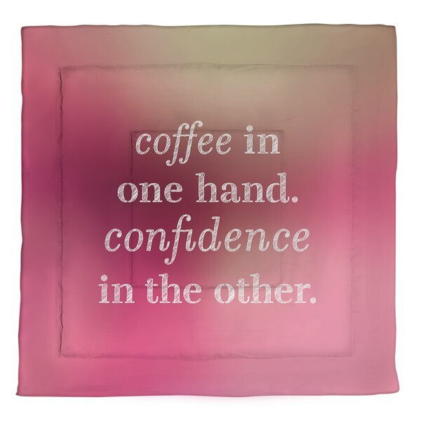 Coffee & Confidence Quote Single Reversible Comforter