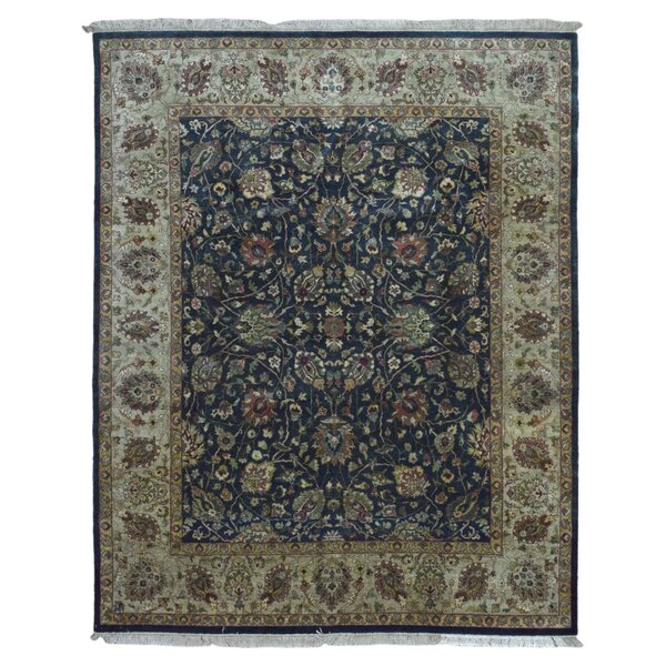 One-of-a-Kind Penni Oriental Hand Woven Rectangle Wool Navy Area Rug by Isabelline
