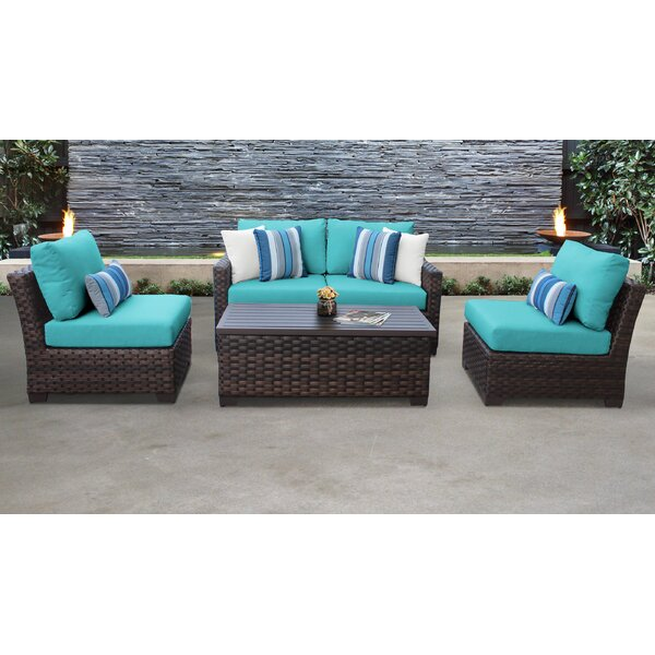 kathy ireland Homes & Gardens River Brook 5 Piece Patio Sofa Seating Group 05d by kathy ireland Homes & Gardens by TK Classics