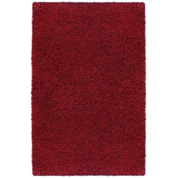 Baugh Shag Chenille Burgundy Area Rug by Ebern Designs