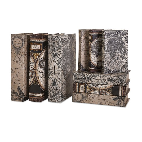 Brown 9 Piece Map Book Box Set by Darby Home Co