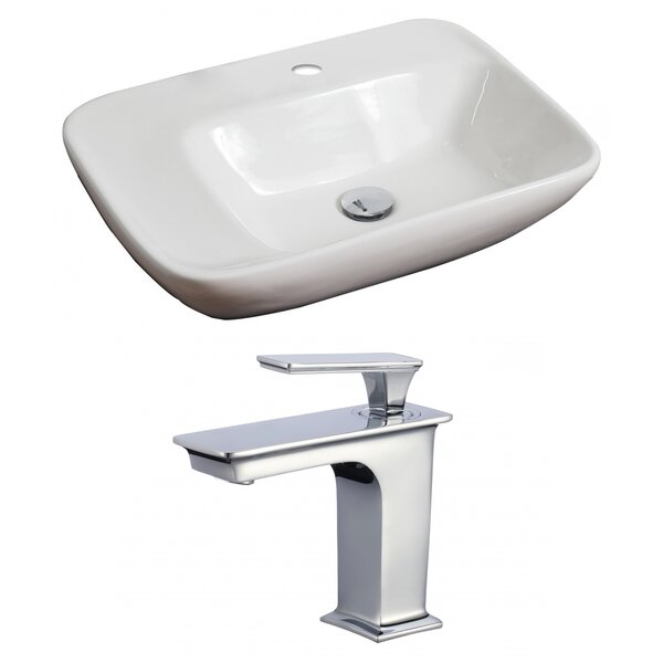 Ceramic 23 Wall Mount Bathroom Sink with Faucet and Overflow by American Imaginations