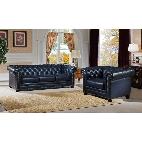 Kraig 2 Piece Leather Living Room Set by Canora Grey