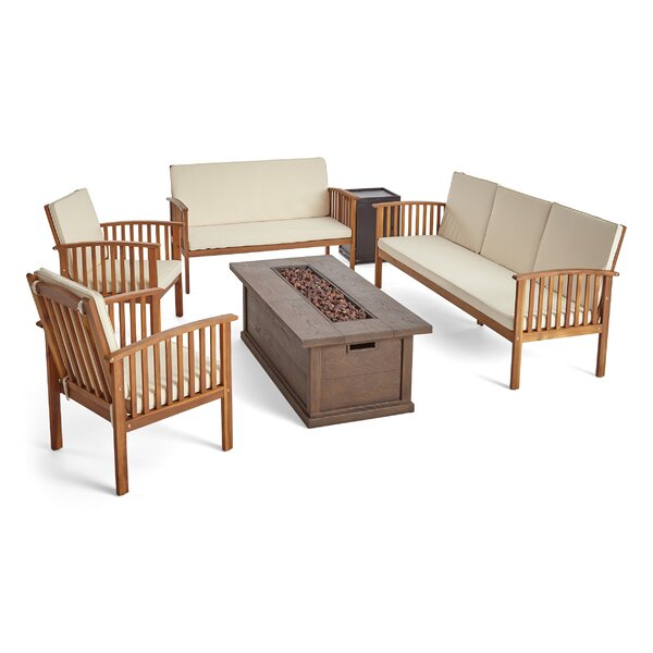 Brice 6 Piece Sofa Seating Group with Cushions by Longshore Tides