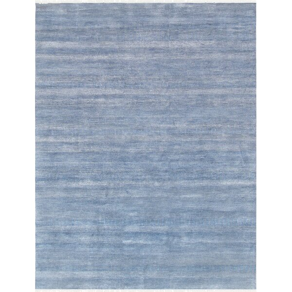 Transitional Hand Knotted Wool Blue Area Rug by Pasargad