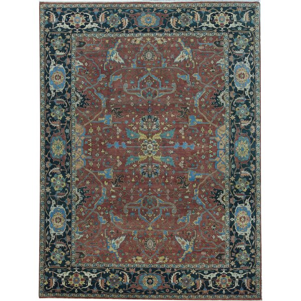 Oriental Hand-Knotted Wool Red/Blue Area Rug