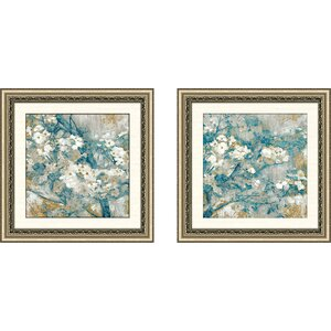 'Golden Dogwood II' 2 Piece Framed Acrylic Painting Print Set by Alcott Hill