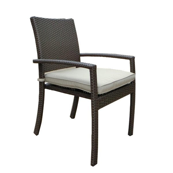 Leanos Stacking Patio Dining Chair with Cushion (Set of 4) by Latitude Run