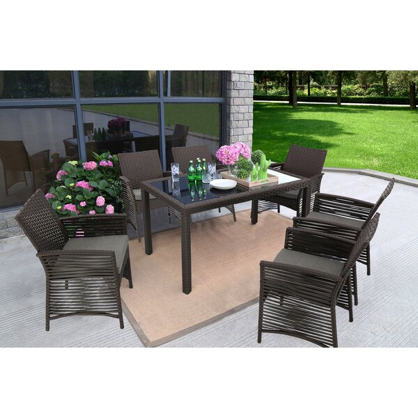 Zayas Backyard Steel Frame 7 Pieces Dining Set with Cushions by Bay Isle Home