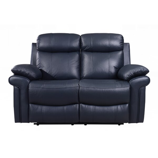 Compare Asbury Leather Reclining Loveseat by Red Barrel Studio