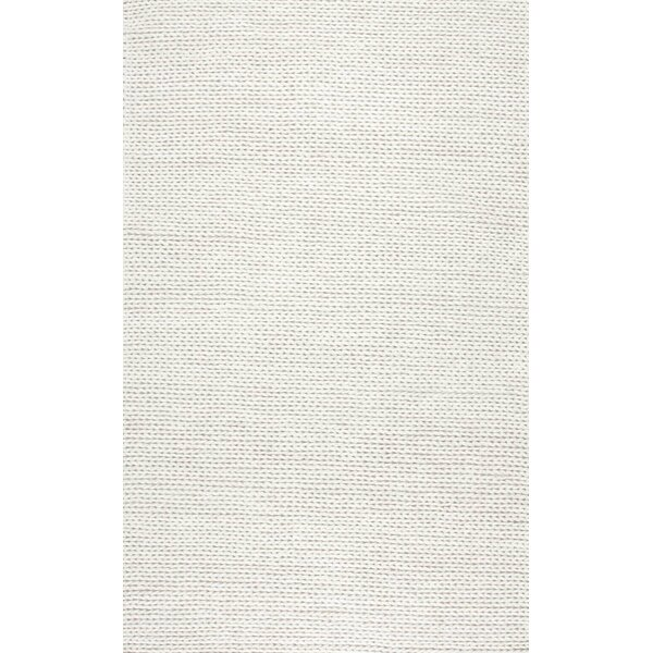 Arviso Hand-Woven Wool White Area Rug by Langley Street
