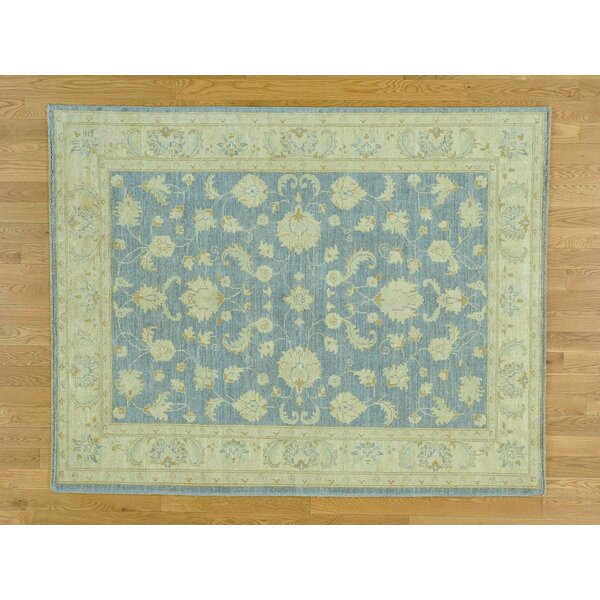 One-of-a-Kind Bearer Ziegler Mahal Design Hand-Knotted Blue Wool Area Rug by Isabelline