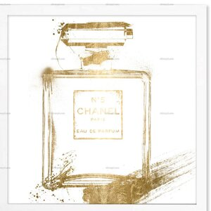 'Black and White Perfume Gold Foil Metallic' Framed Graphic Art Print by Willa Arlo Interiors