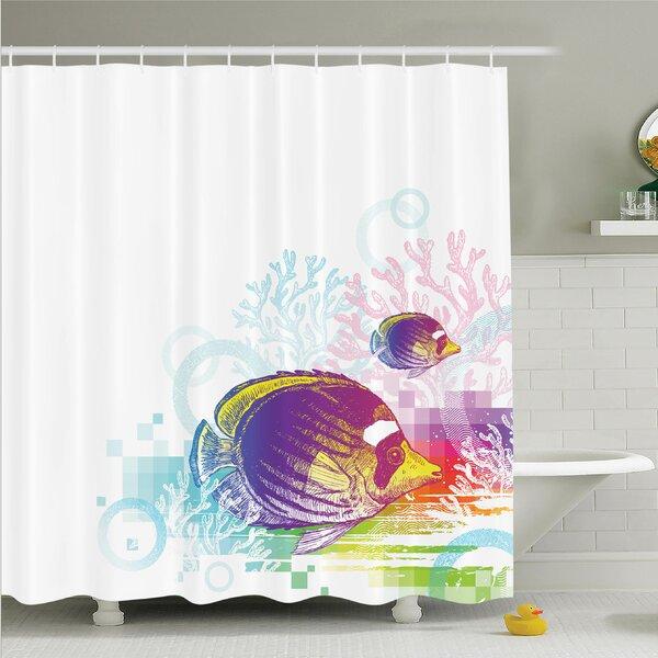 Ambesonne Fish Sea Animals Kids Shower Curtain Set | Wayfair