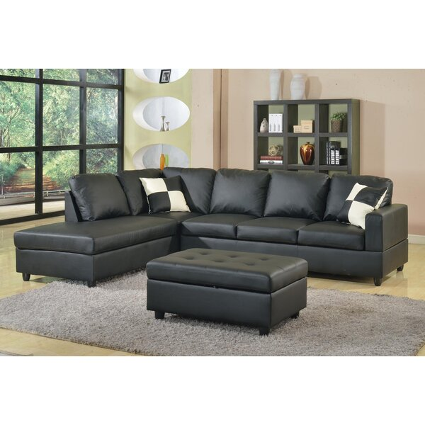 Bateman Reversible Sectional  With Ottoman By Ebern Designs Spacial Price