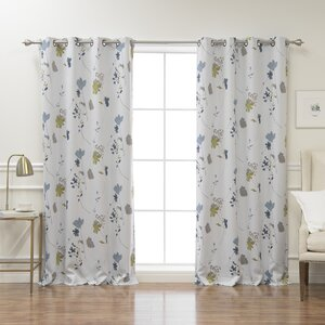 Apple Valley Nature/Floral Semi-Sheer Thermal Grommet Curtain Panels (Set of 2)