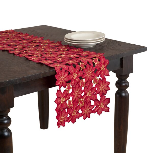 Flor De Navidad Embroidered and Cutwork Table Runner by Saro