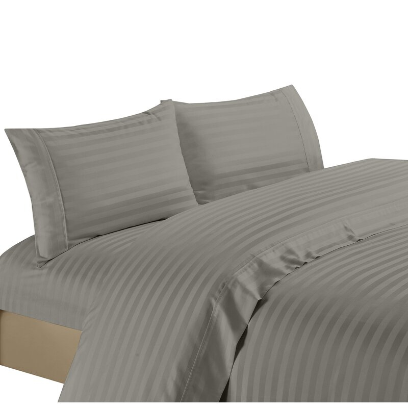 Bedding Collection 1200 TC Egyptian Cotton Select Item Navy Blue Striped US Size