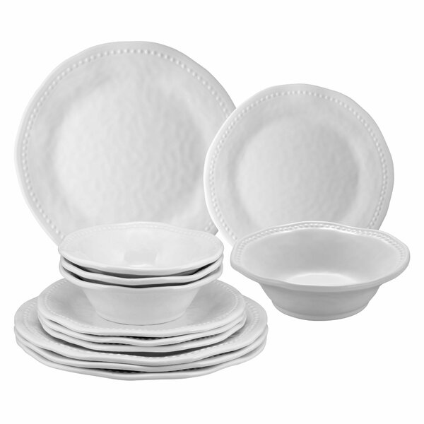 Homerville Beaded 12 Piece Melamine Dinnerware Set Service for 4 by Three Posts