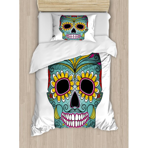 Folk Art Elements Featured Day of the Dead Celebration Concept Duvet Set by East Urban Home