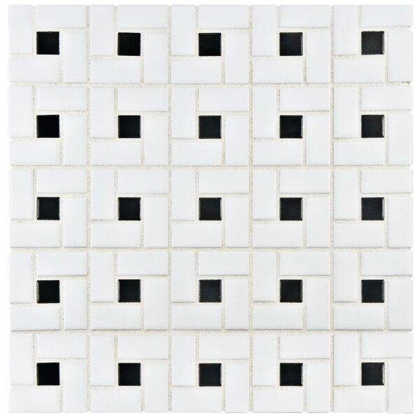 Retro Random Sized Porcelain Mosaic Tile in White/Black by EliteTile