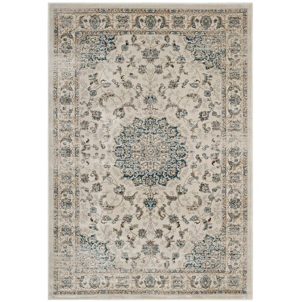 Houpt Vintage Persian Medallion Teal/Beige Area Rug by Alcott Hill