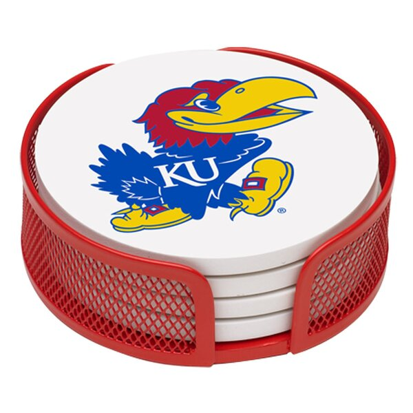 5 Piece University of Kansas Collegiate Coaster Gift Set by Thirstystone
