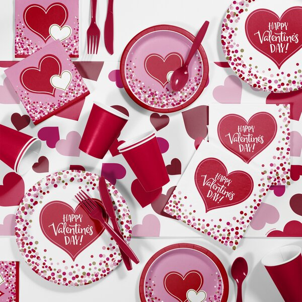 Happy Hearts Valentines Day Paper/Plastic Party Supplies Kit (Set of 81) by Creative Converting