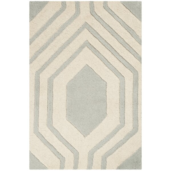 Aula Hand-Tufted Grey/Ivory Area Rug by Highland Dunes