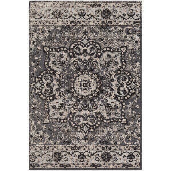 Pelaez Hand-Woven Black/Gray Area Rug by Bungalow Rose
