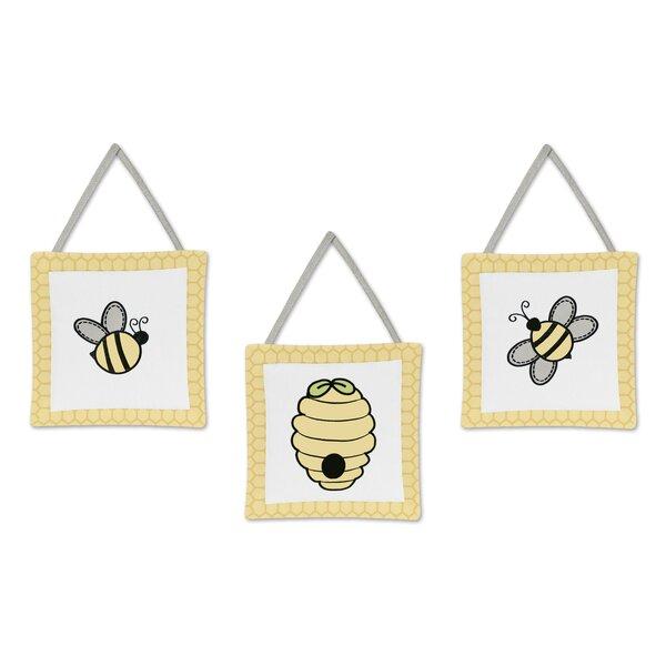 Honey Bee 3 Piece Wall Hanging Art Set by Sweet Jojo Designs