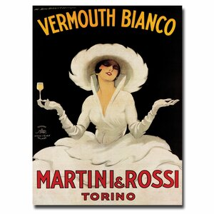 Vermouth Bianco Martini Rossi by Marcello Dudovich Framed Vintage Advertisement on Wrapped Canvas by Trademark Fine Art