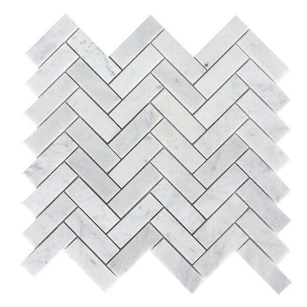 1 x 3 Marble Mosaic Tile in Italian Carrara White by Luxsurface