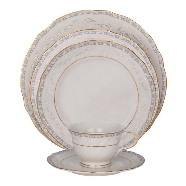 Spring Valley 5 Piece Ivory China Place Setting, Service for 1 (Set of 4) by Shinepukur Ceramics USA, Inc.