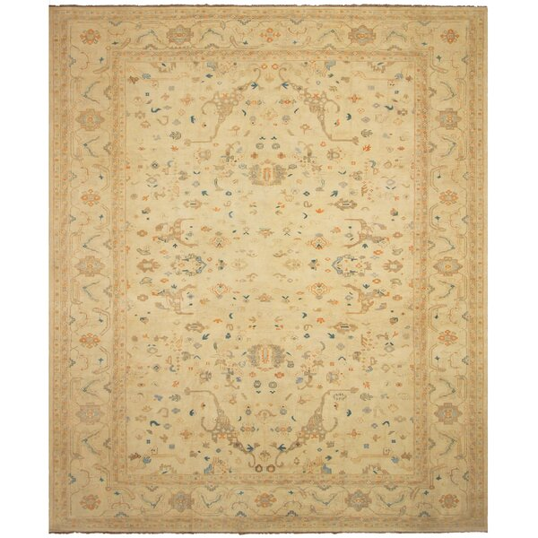 One-of-a-Kind Aarav Sun-Faded Hand-Knotted Wool Ivory Area Rug by Isabelline