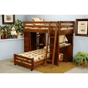 ramos twin over twin loft bed with desk and chest ends