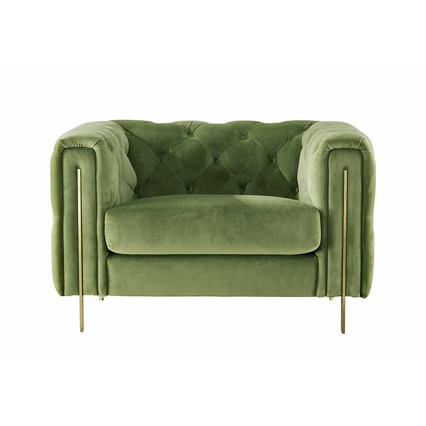 Acanva Chesterfield Vintage Tufted Velvet Armchair by Everly Quinn