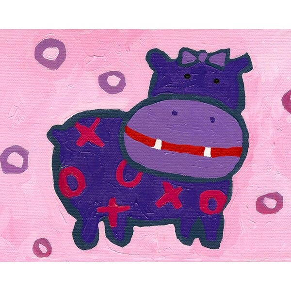 X and O Hippo Paper Print by Cici Art Factory