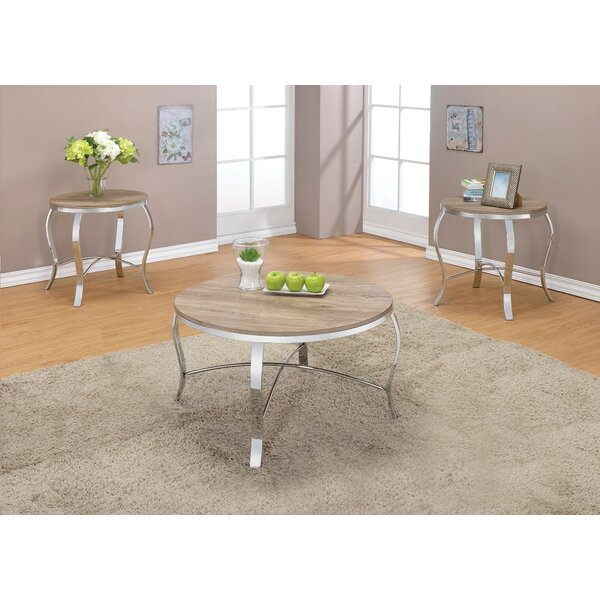 Giron Metal and Wooden 3 Piece Coffee Table Set by Wrought Studio