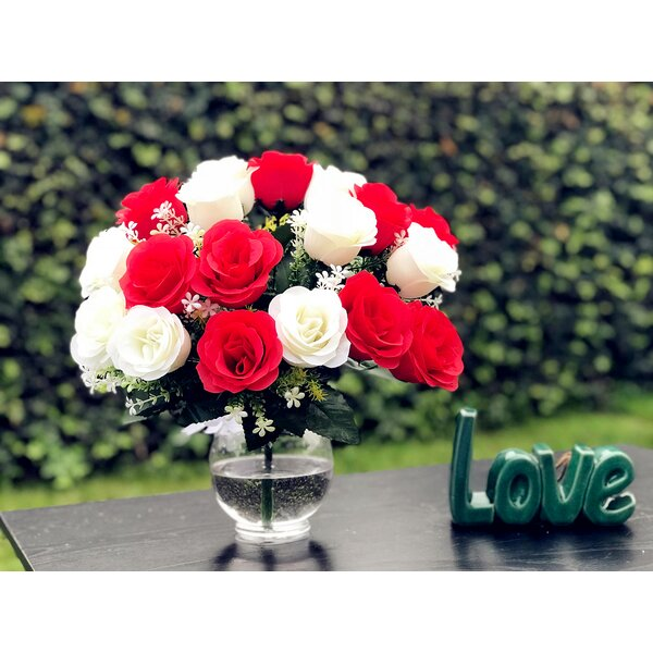 Artificial Red and White Rose Centerpiece in Vase by Charlton Home
